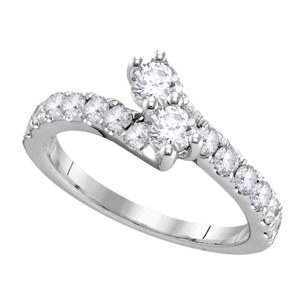 14kt White Gold Womens Round Diamond 2-stone Hearts Together Bridal Wedding Engagement Ring 1/2 Cttw