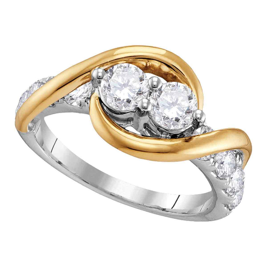 14kt Two-tone Gold Womens Round Diamond 2-stone Bridal Wedding Engagement Ring 1-3/8 Cttw