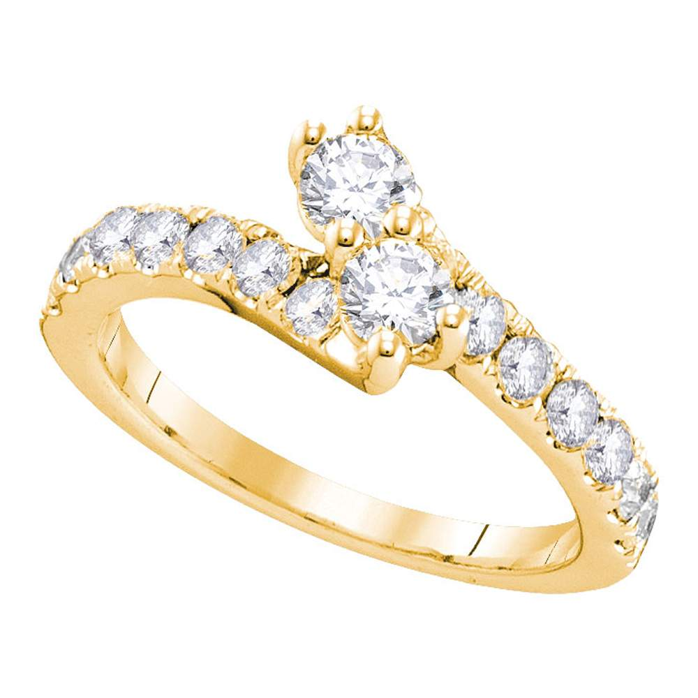 14kt Yellow Gold Womens Round Diamond 2-stone Hearts Together Bridal Wedding Engagement Ring 1/2 Cttw (Certified)