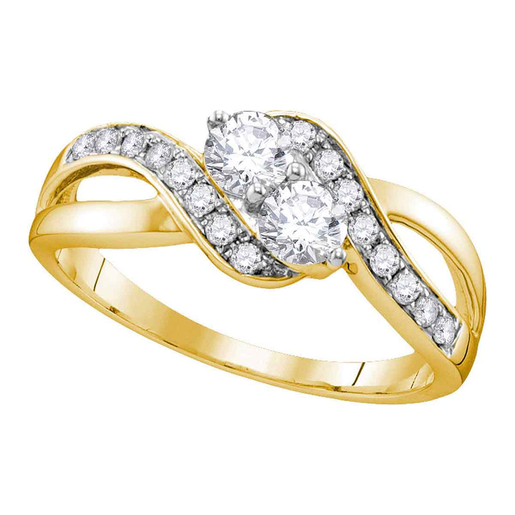 10kt Yellow Gold Womens Round Diamond 2-stone Hearts Together Bridal Wedding Engagement Ring 5/8 Cttw (Certified)
