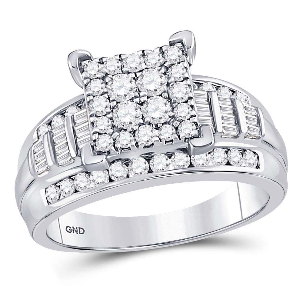 10kt White Gold Womens Round Diamond Square Cluster Bridal Wedding Engagement Ring 1.00 Cttw