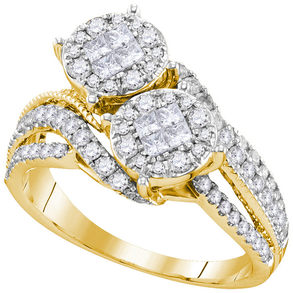14kt Yellow Gold Womens Princess Diamond Cluster Bridal Wedding Engagement Ring 1.00 Cttw
