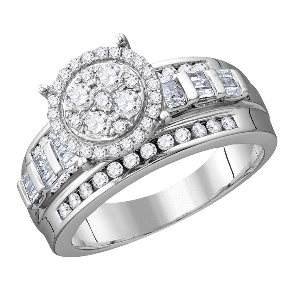 10kt White Gold Womens Round Diamond Cluster Bridal Wedding Engagement Ring 1/2 Cttw