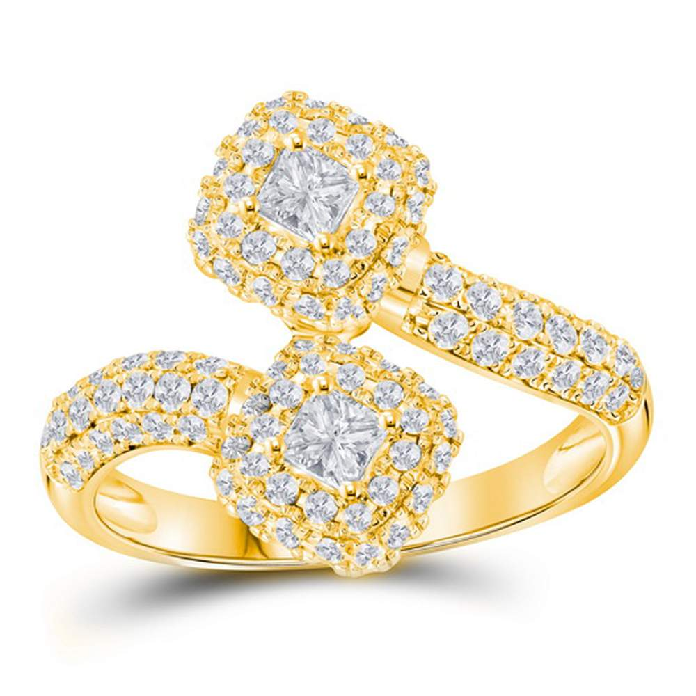 14kt Yellow Gold Womens Princess Diamond 2-stone Hearts Together Bypass Bridal Wedding Engagement Ring 1-1/2 Cttw