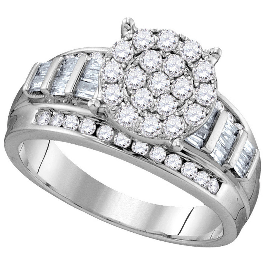10kt White Gold Womens Round Diamond Cindys Dream Cluster Bridal Wedding Engagement Ring 1.00 Cttw - Size 8