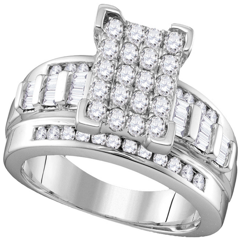 10kt White Gold Womens Round Diamond Rectangle Cluster Bridal Wedding Engagement Ring 7/8 Cttw - Size 7