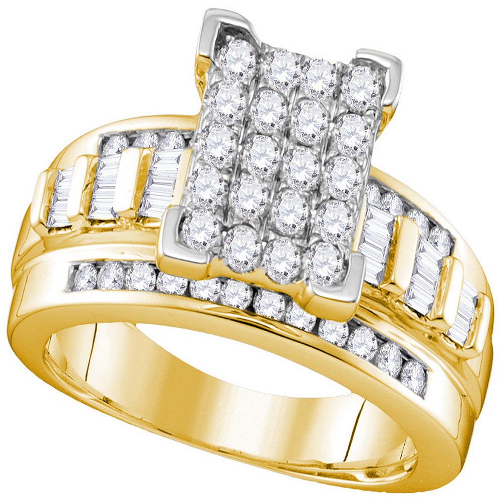 10kt Yellow Gold Womens Round Diamond Rectangle Cluster Bridal Wedding Engagement Ring 7/8 Cttw - Size 7