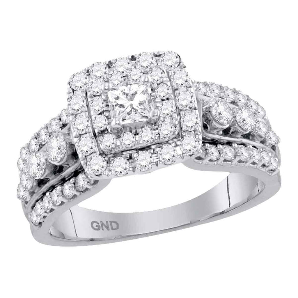 14kt White Gold Womens Princess Diamond Princess EGL Bridal Wedding Engagement Ring 1-1/3 Cttw