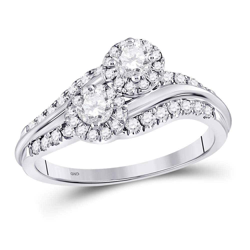 14kt White Gold Womens Round Diamond 2-Stone Hearts Together Engagement Bridal Ring 5/8 Cttw