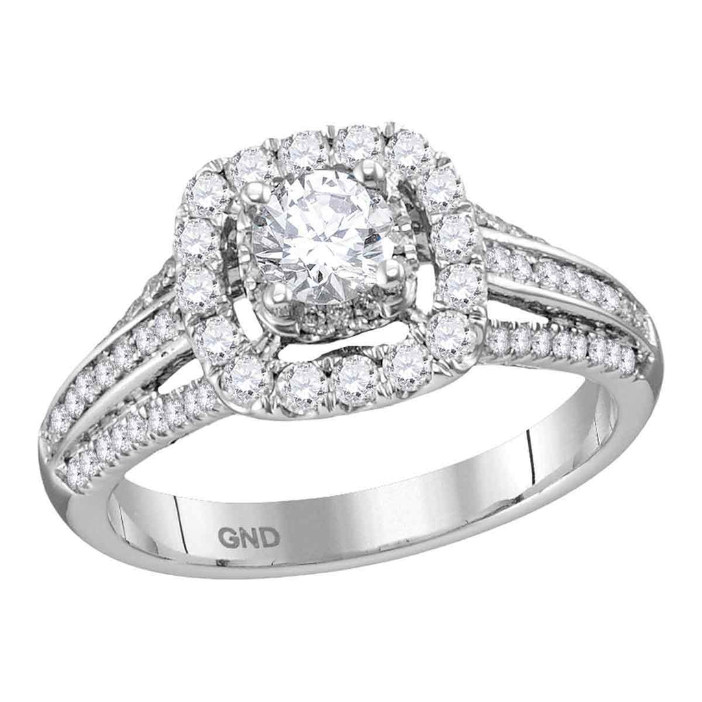 14kt White Gold Womens Round Diamond Solitaire Halo Bridal Wedding Engagement Ring 1.00 Cttw