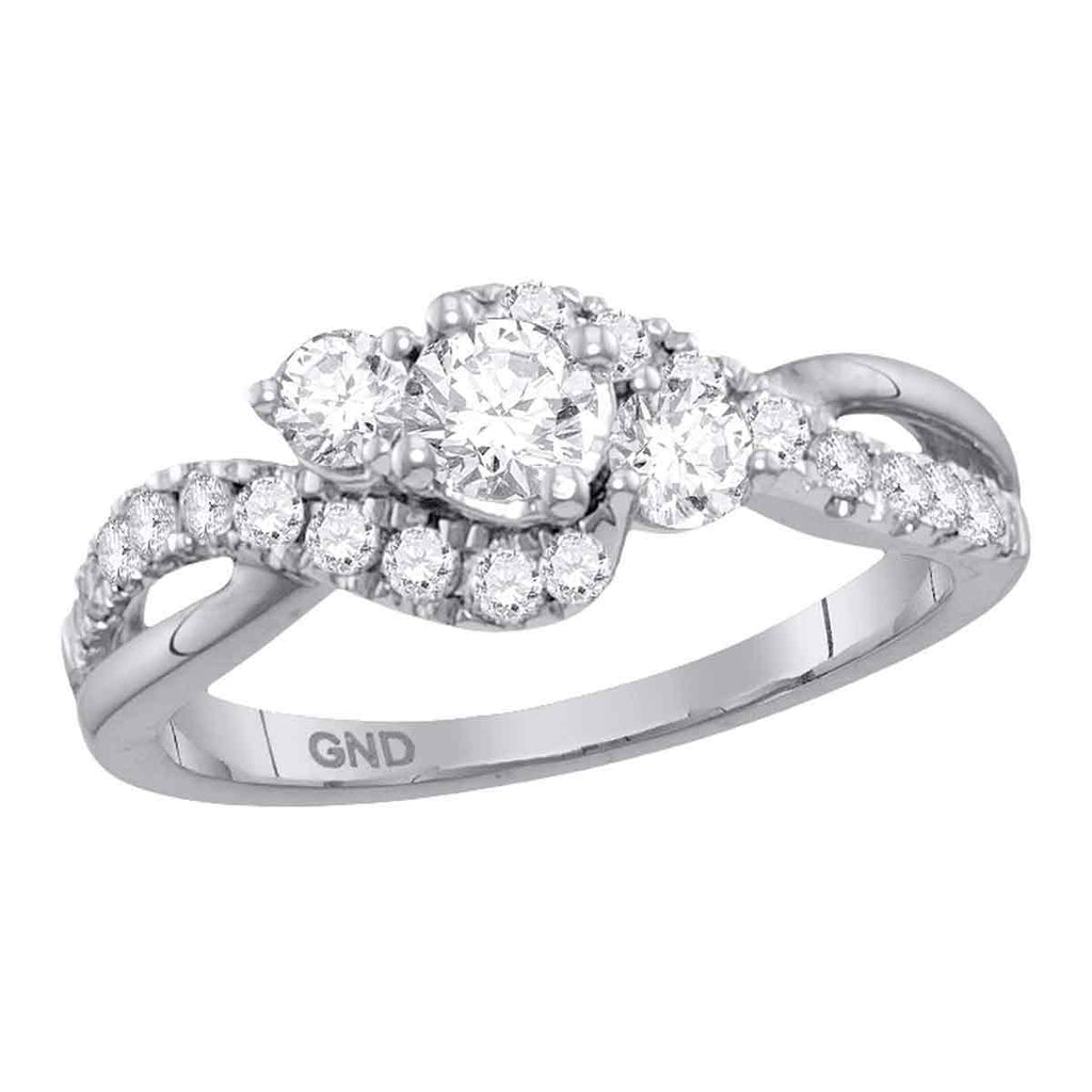 14kt White Gold Womens Round Diamond 3-stone Bridal Wedding Engagement Ring 7/8 Cttw (Certified)