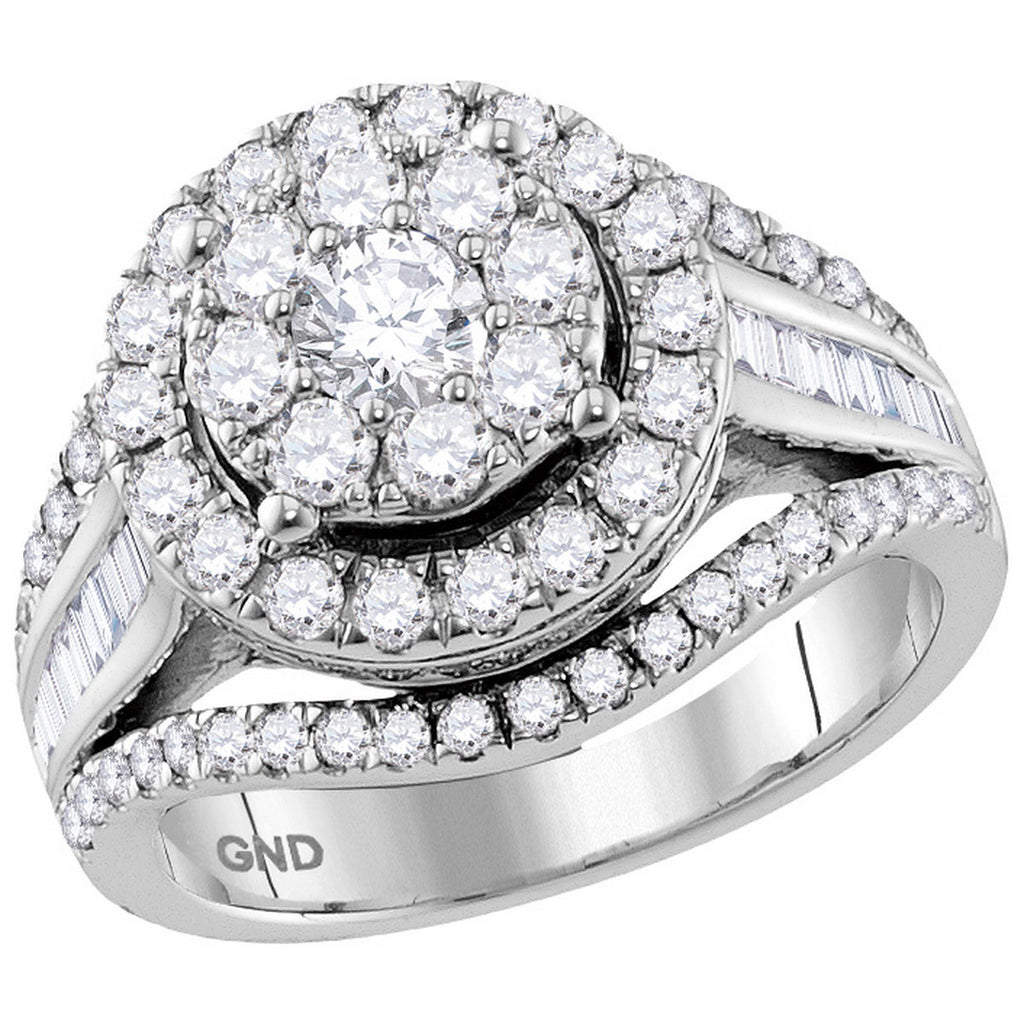 10kt White Gold Womens Round Diamond Cluster Bridal Wedding Engagement Ring 2.00 Cttw (Certified)