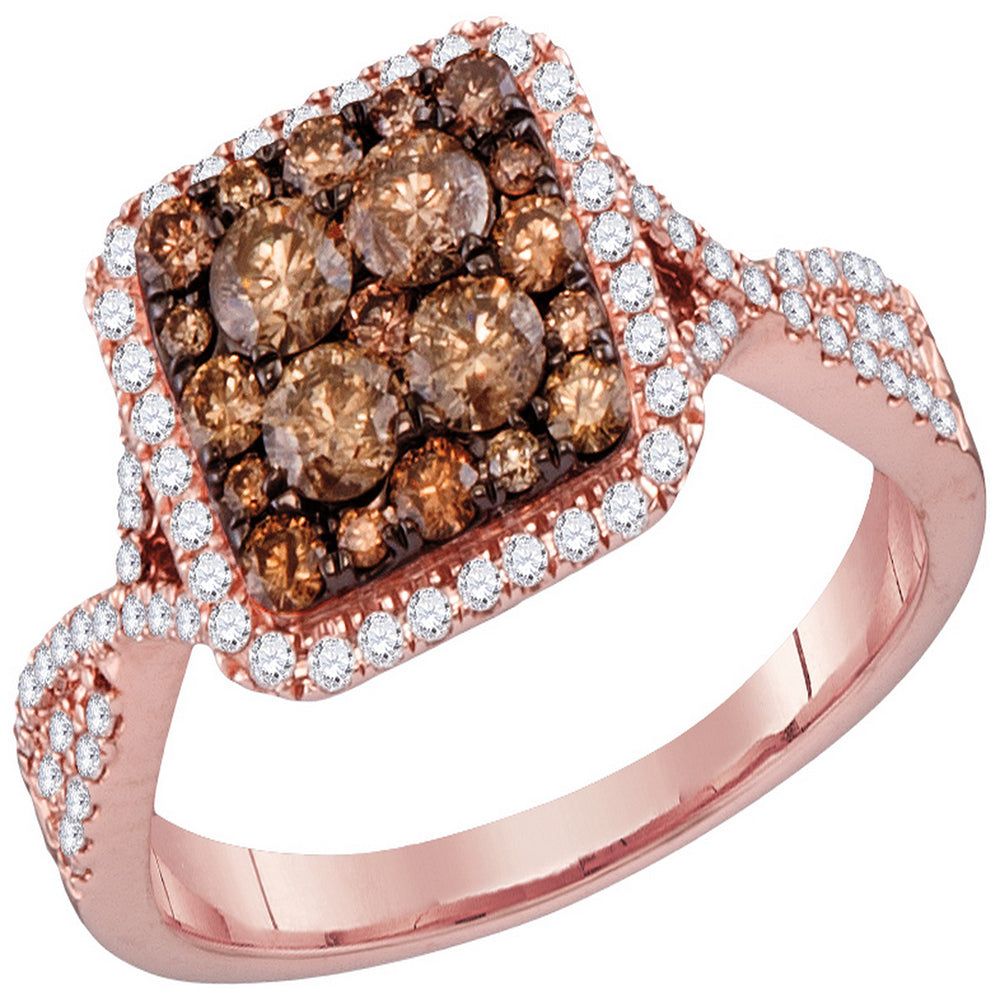 14kt Rose Gold Womens Round Brown Diamond Square Cluster Bridal Wedding Engagement Ring 1.00 Cttw