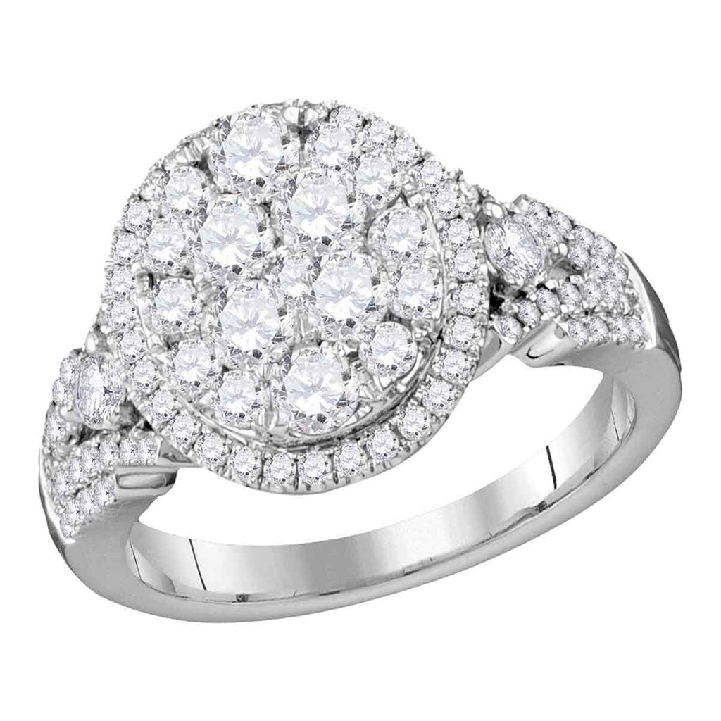 14kt White Gold Womens Round Diamond Cluster Bridal Wedding Engagement Ring 1-1/2 Cttw
