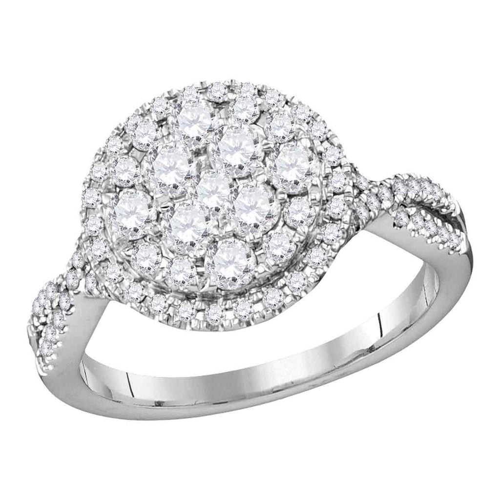 14kt White Gold Womens Round Diamond Cluster Bridal Wedding Engagement Ring 1.00 Cttw