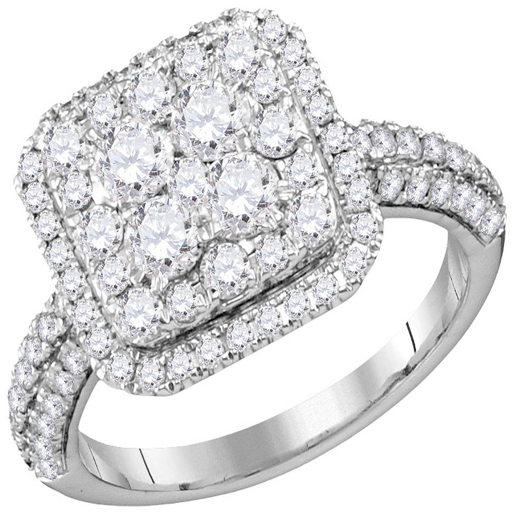 14kt White Gold Womens Round Diamond Square Cluster Bridal Wedding Engagement Ring 1-5/8 Cttw