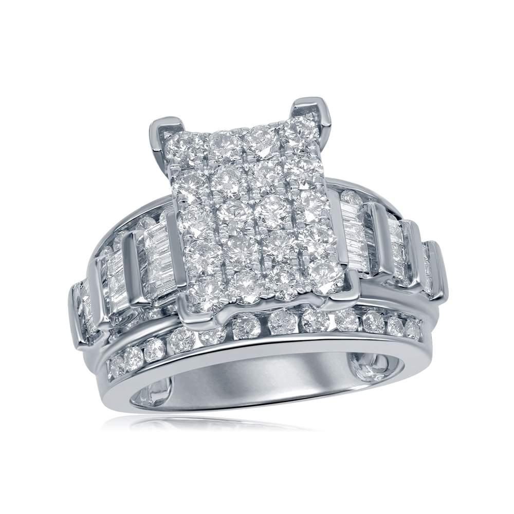10kt White Gold Womens Round Diamond Cindys Dream Cluster Bridal Wedding Engagement Ring 2.00 Cttw