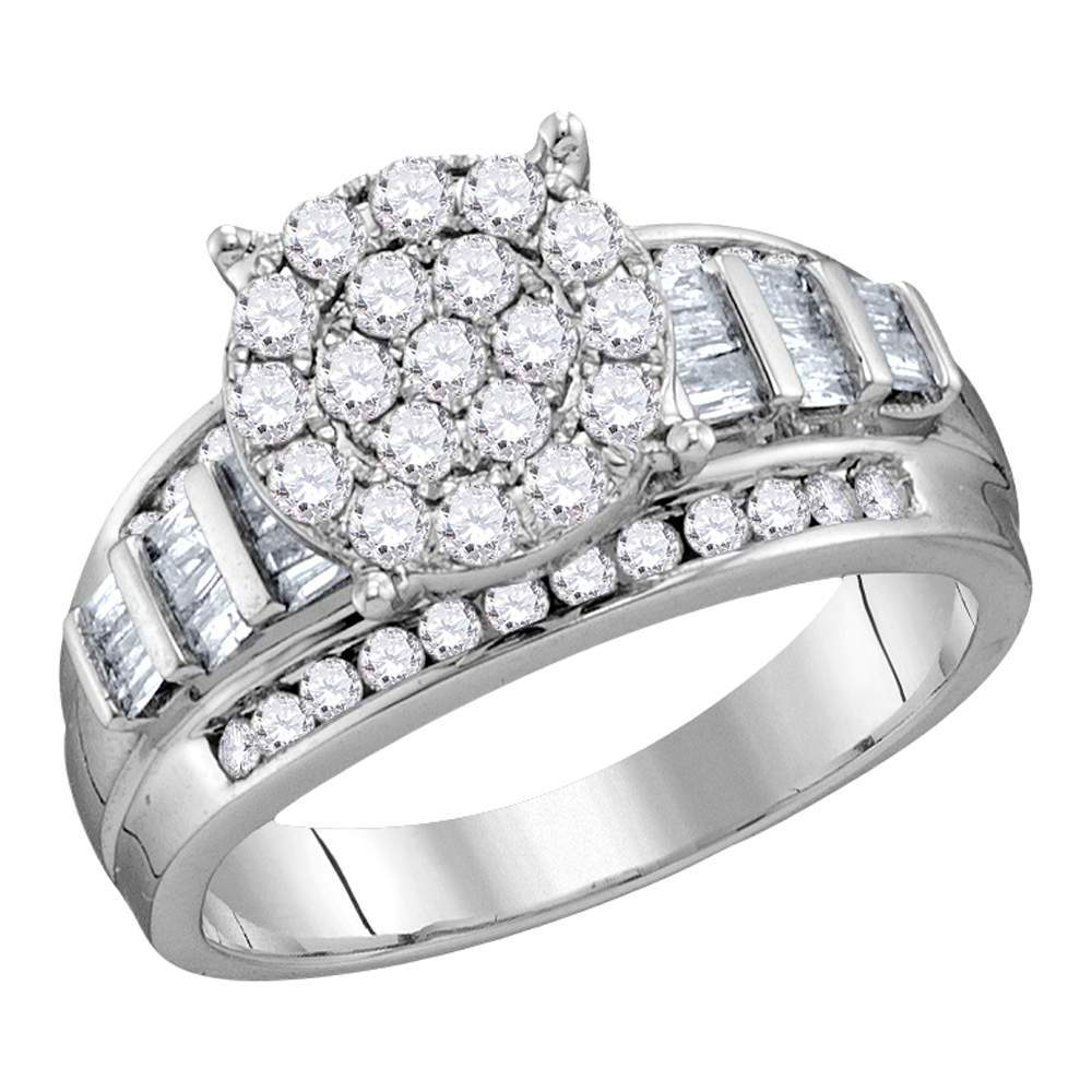 10kt White Gold Womens Round Diamond Cluster Bridal Wedding Engagement Ring 2.00 Cttw