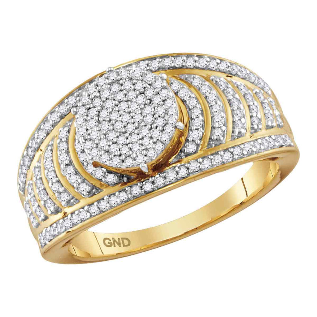 10kt Yellow Gold Womens Round Diamond Cluster Striped Bridal Wedding Engagement Ring 1/2 Cttw