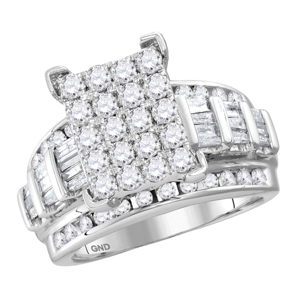 14kt White Gold Womens Round Diamond Cindys Dream Cluster Bridal Wedding Engagement Ring 4.00 Cttw