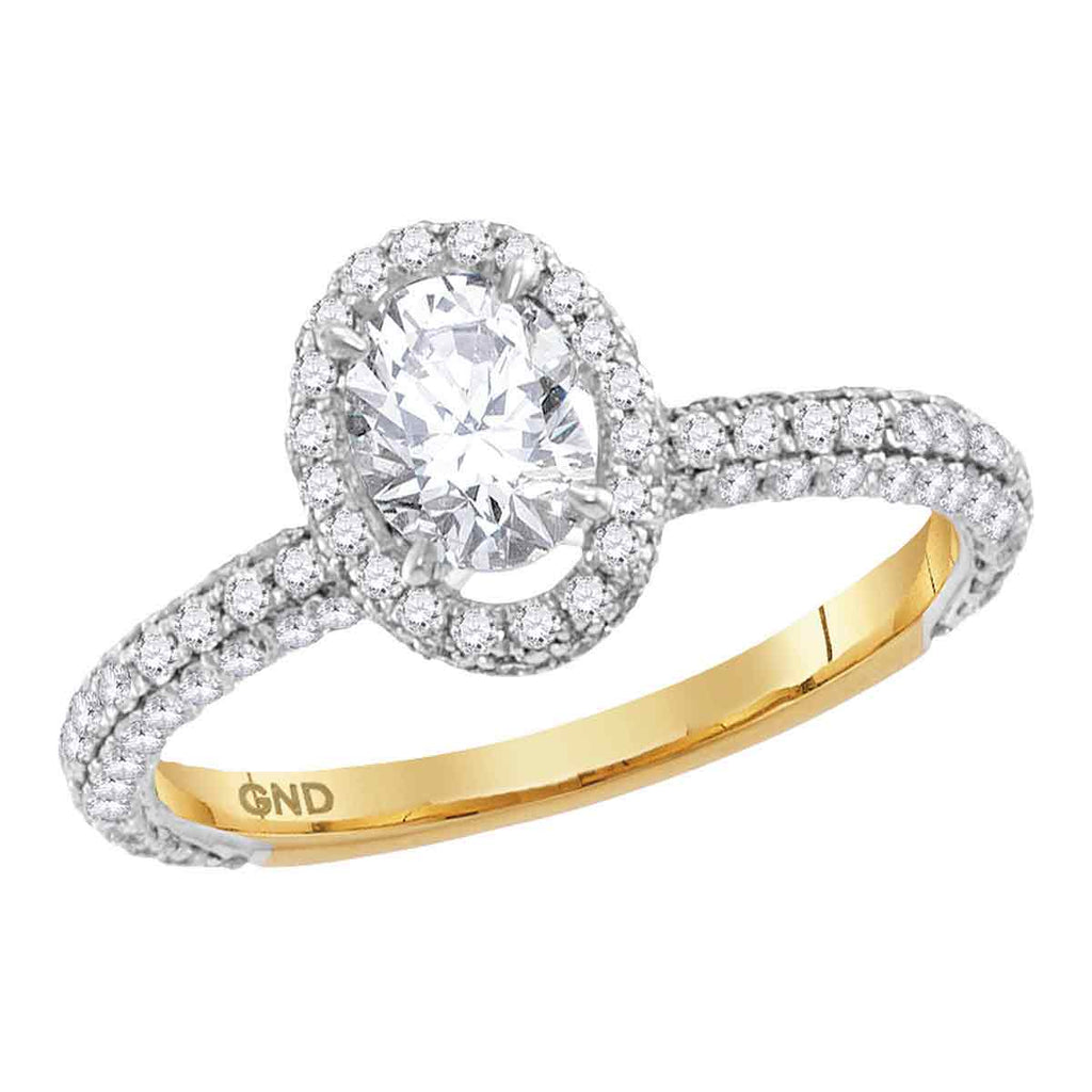 14kt Yellow Gold Womens Oval Diamond Solitaire Bridal Wedding Engagement Ring 1-5/8 Cttw