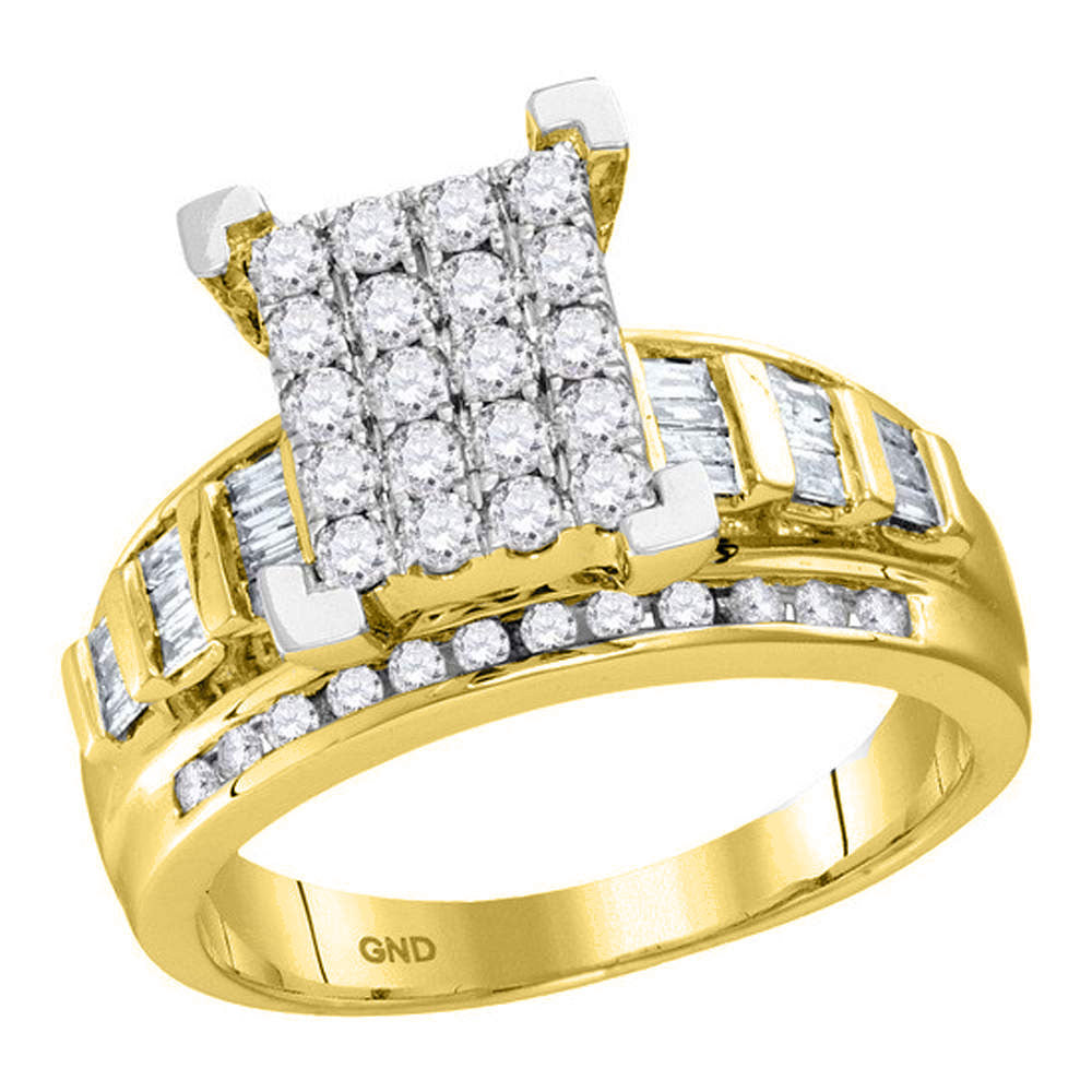 10kt Yellow Gold Womens Round Diamond Cindys Dream Cluster Bridal Wedding Engagement Ring 7/8 Cttw - Size 8