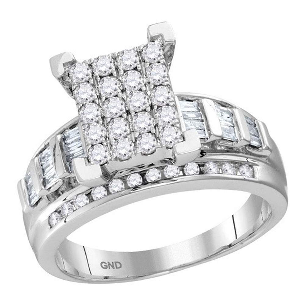 10kt White Gold Womens Round Diamond Cindys Dream Cluster Bridal Wedding Engagement Ring 7/8 Cttw - Size 10