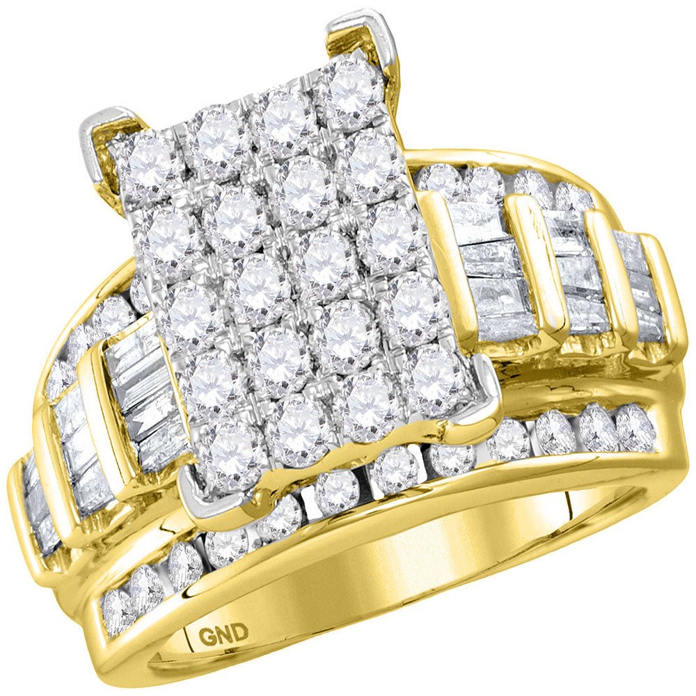 10kt Yellow Gold Womens Round Diamond Cindys Dream Cluster Bridal Wedding Engagement Ring 2.00 Cttw - Size 6