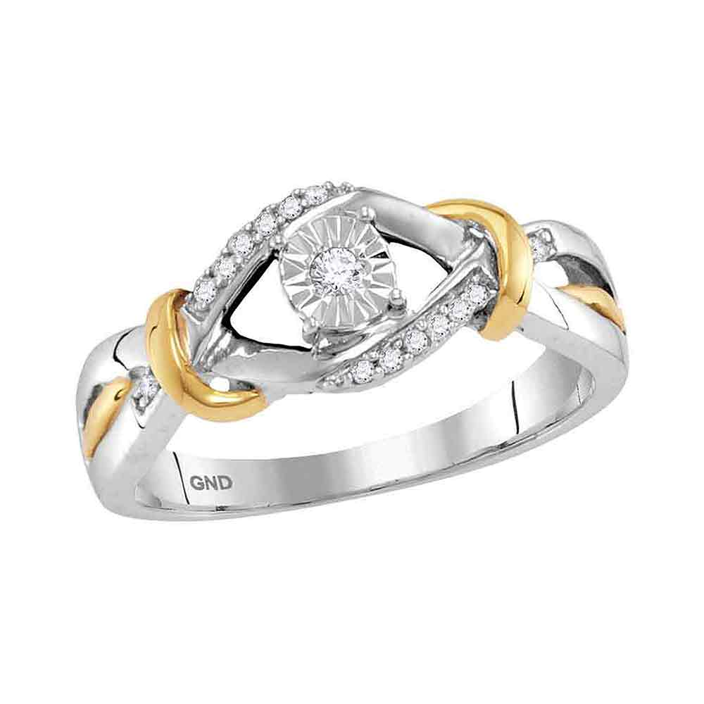 Sterling Silver Womens Round Diamond Solitaire Bridal Wedding Engagement Ring 1/10 Cttw
