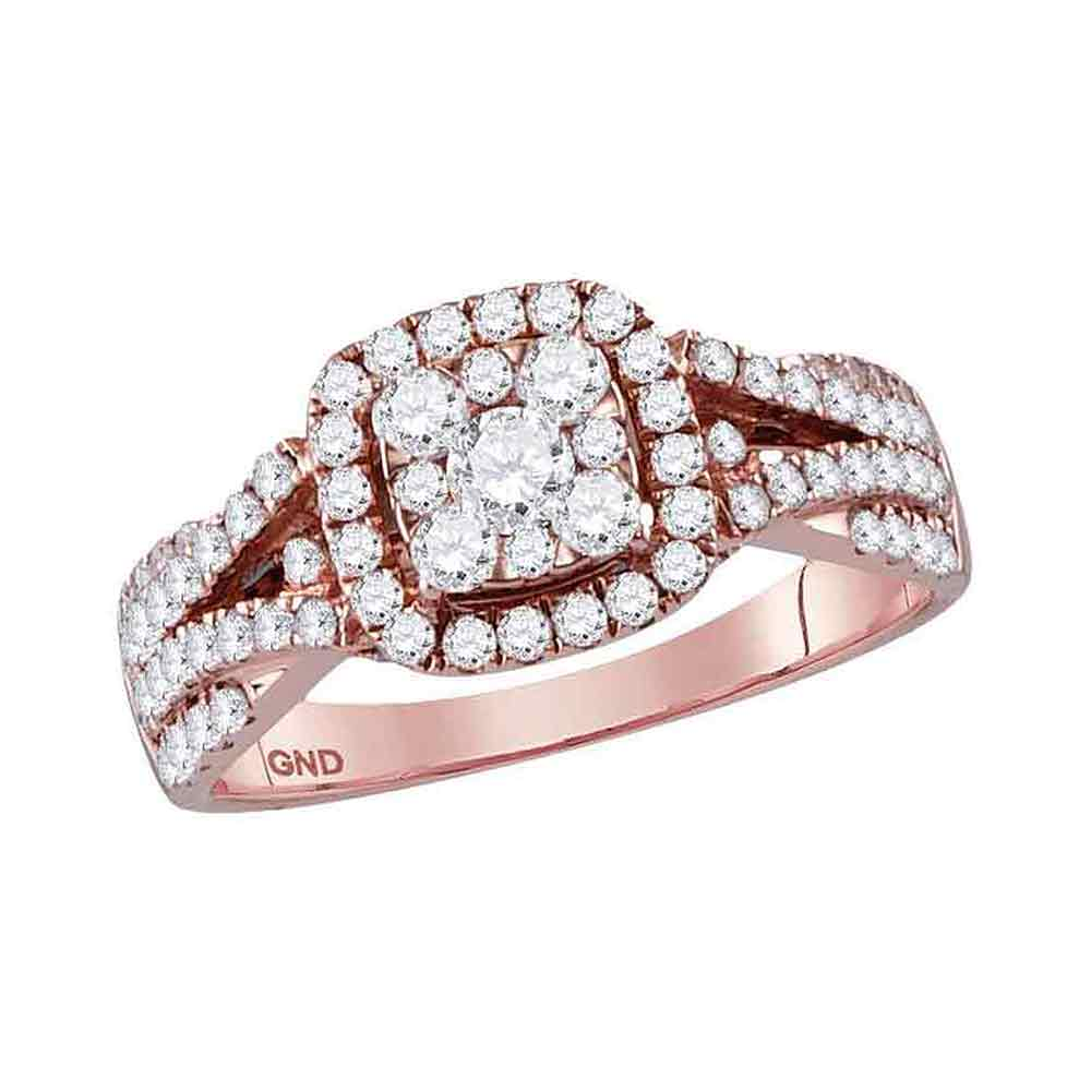 14kt Rose Gold Womens Round Diamond Square Cluster Bridal Wedding Engagement Ring 1.00 Cttw