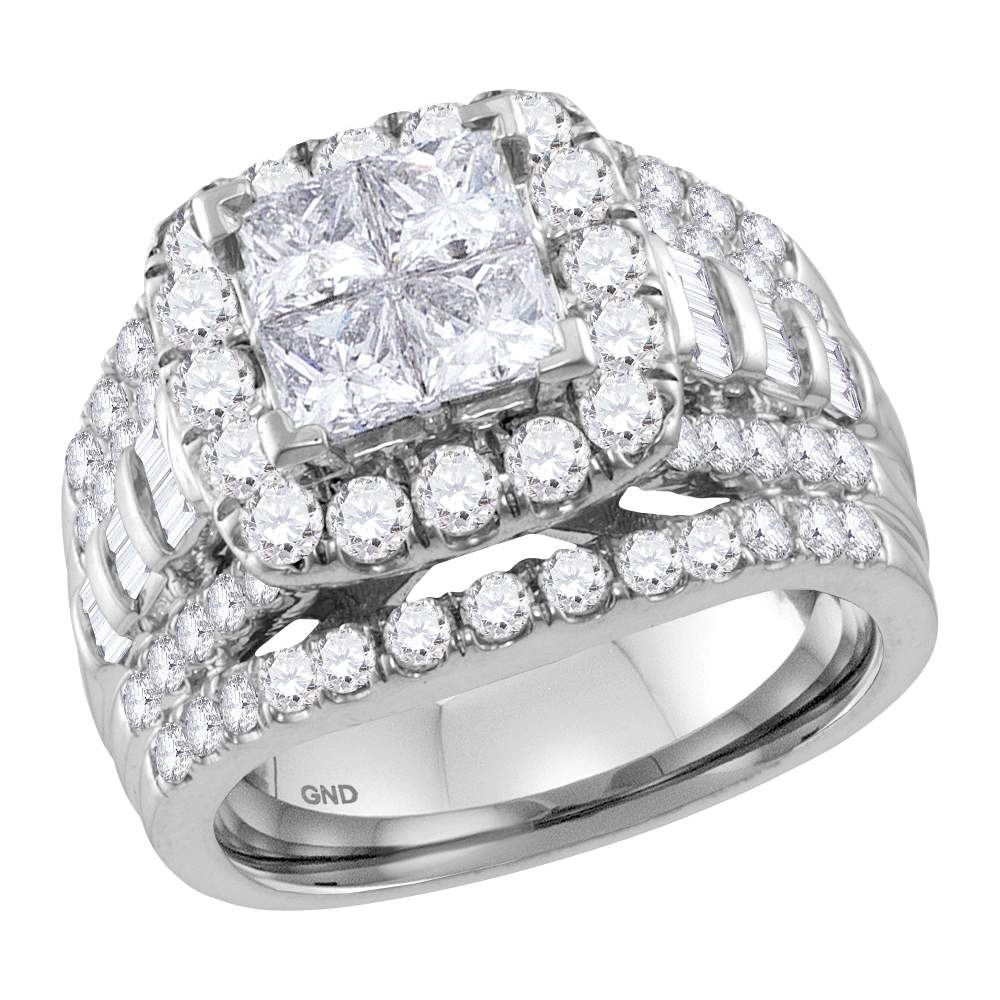 14kt White Gold Womens Princess Diamond Cluster Halo Bridal Wedding Engagement Ring 3.00 Cttw