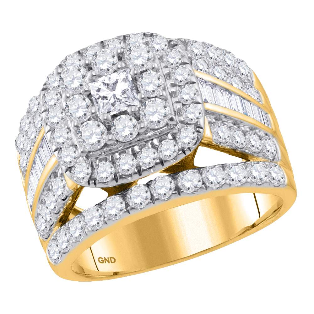 14kt Yellow Gold Womens Princess Diamond Solitaire Halo Bridal Wedding Engagement Ring 3.00 Cttw