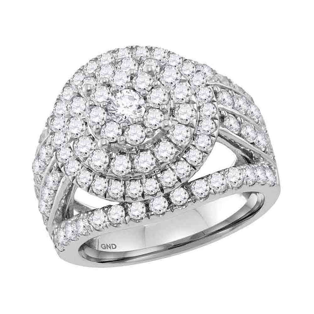 14kt White Gold Womens Round Diamond Flower Cluster Bridal Wedding Engagement Ring 3.00 Cttw