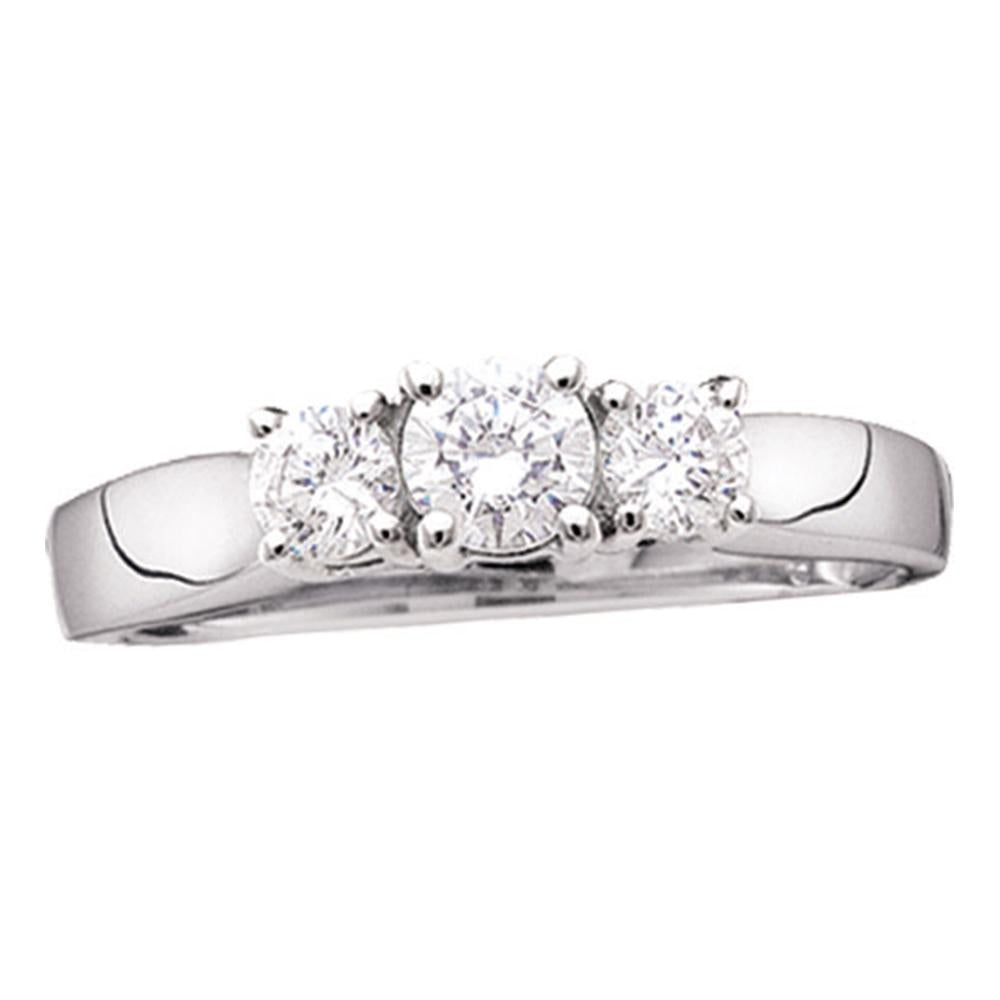 14kt White Gold Womens Round Diamond 3-stone Bridal Wedding Engagement Ring 3/4 Cttw