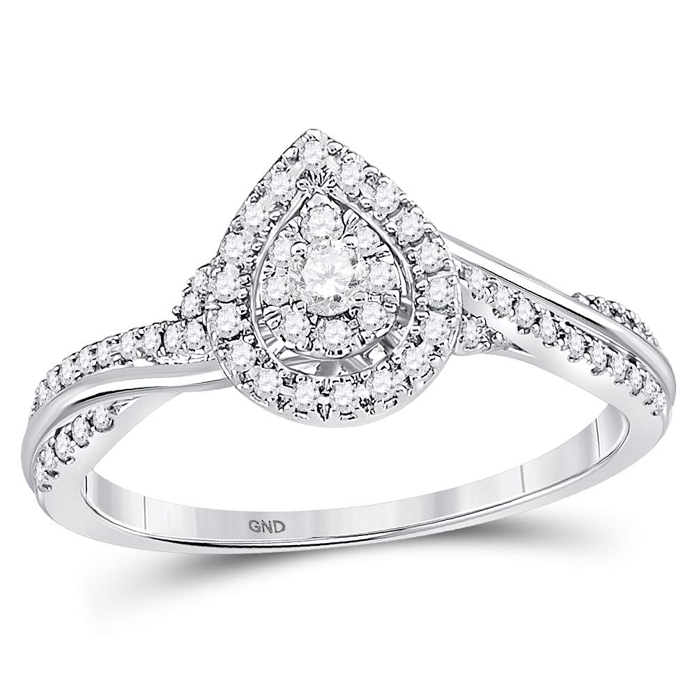 14kt White Gold Womens Round Diamond Teardrop Cluster Bridal Wedding Engagement Ring 1/4 Cttw