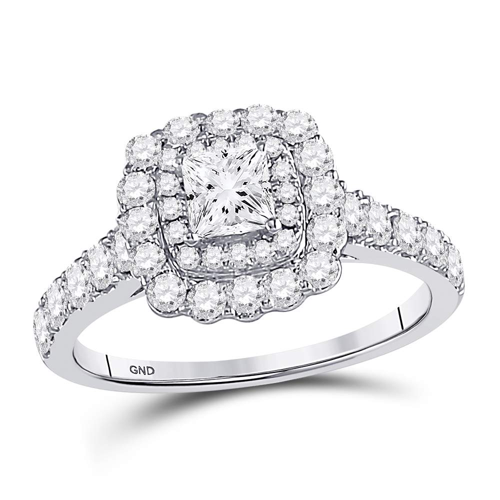 14kt White Gold Womens Princess Diamond Solitaire Bridal Wedding Engagement Ring 1-1/5 Cttw