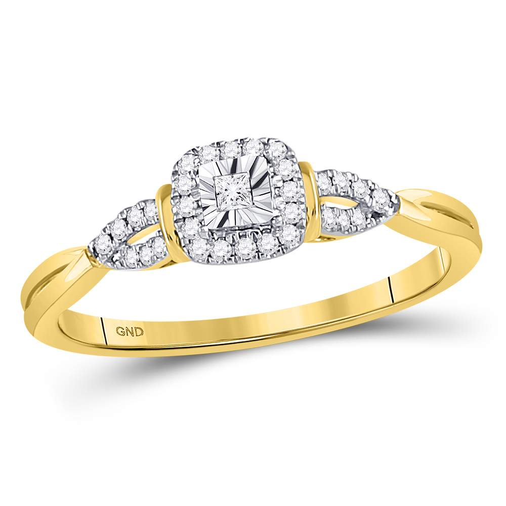 14kt Yellow Gold Womens Princess Diamond Solitaire Bridal Wedding Engagement Ring 1/10 Cttw