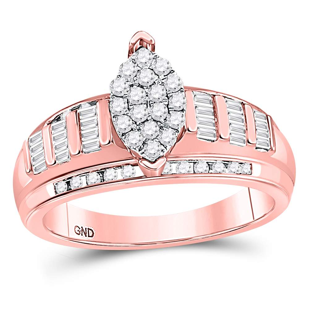 10kt Rose Gold Womens Diamond Marquise-shape Cluster Bridal Wedding Engagement Ring 1/2 Cttw