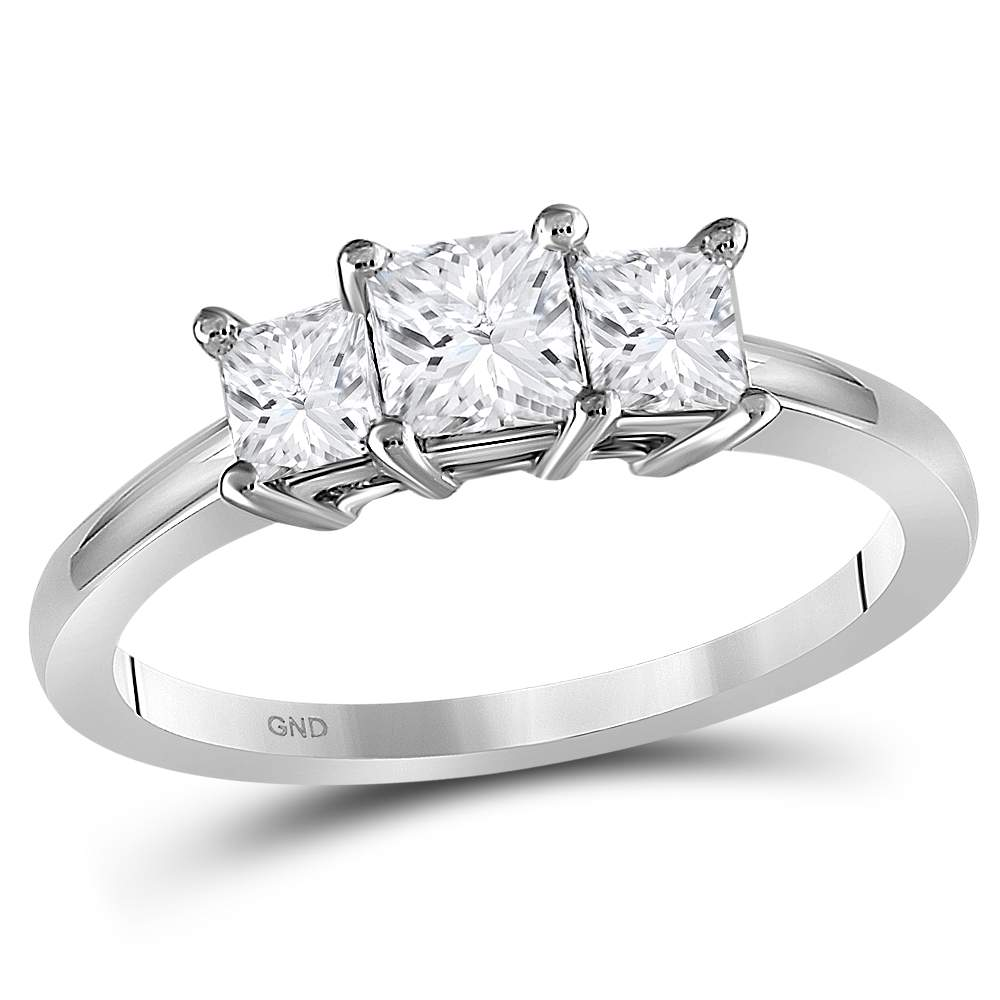 10kt White Gold Womens Princess Diamond 3-stone Bridal Wedding Engagement Ring 7/8 Cttw