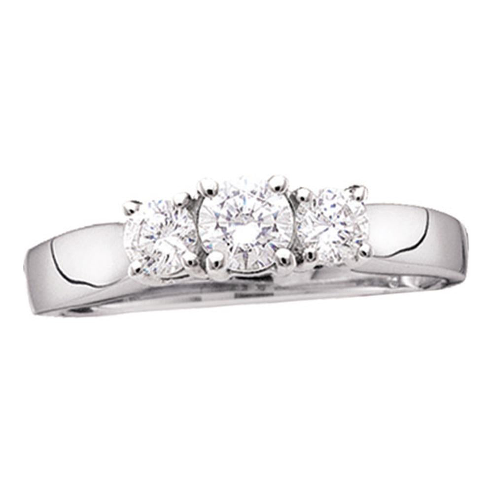 14kt White Gold Womens Round Diamond 3-stone Bridal Wedding Engagement Ring 1/2 Cttw