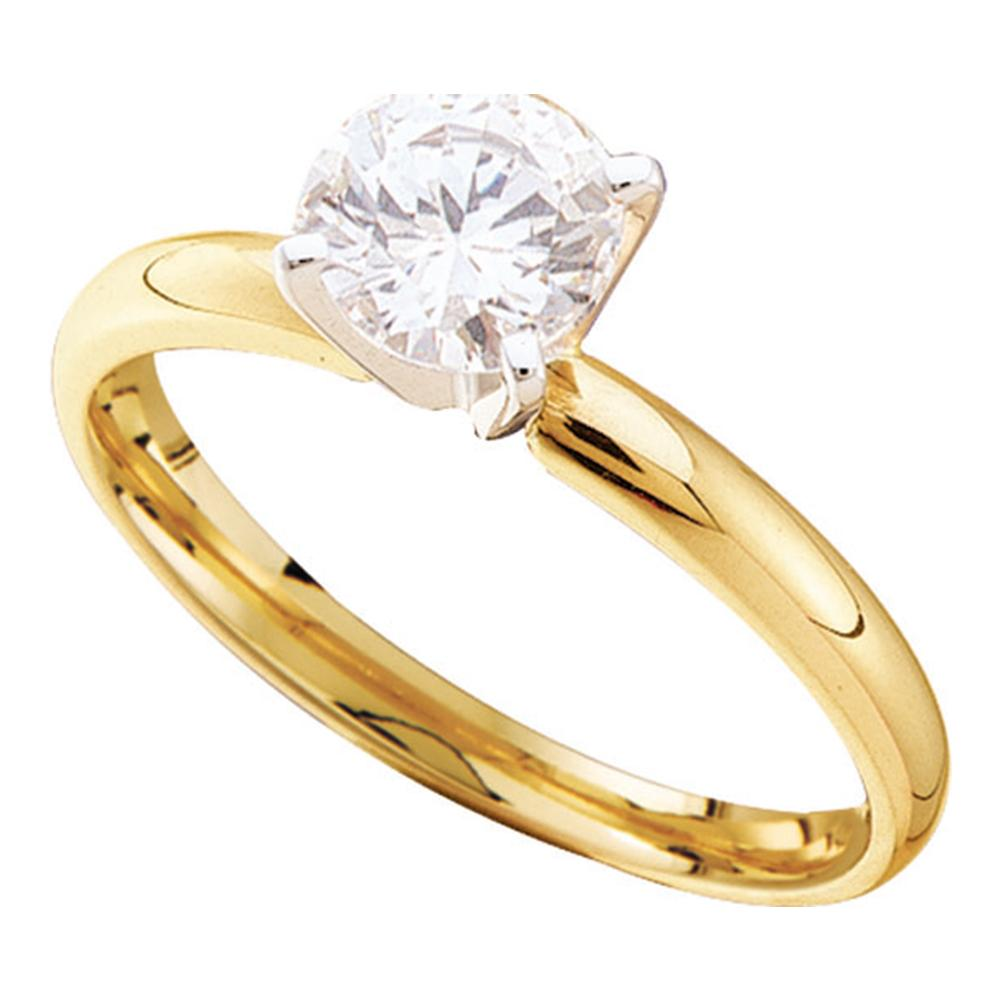 14kt Yellow Gold Womens Round Diamond Solitaire Bridal Wedding Engagement Ring 1/5 Cttw