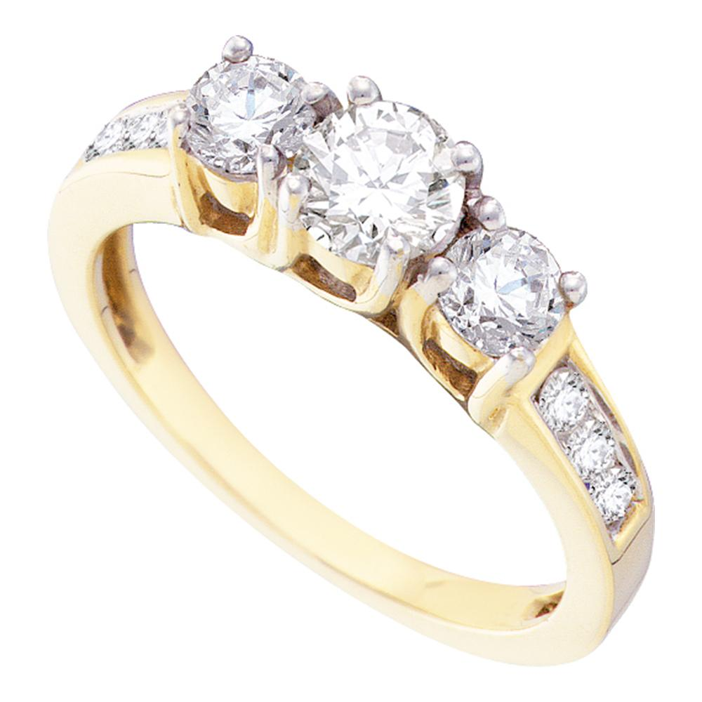 14kt Yellow Gold Womens Round Diamond 3-stone Bridal Wedding Engagement Ring 1.00 Cttw