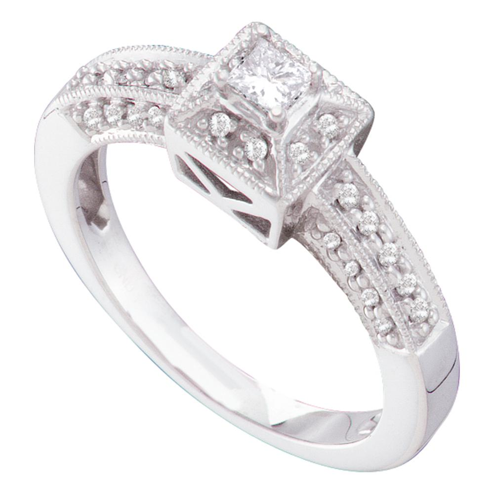 14kt White Gold Womens Princess Diamond Solitaire Bridal Wedding Engagement Ring 1/3 Cttw