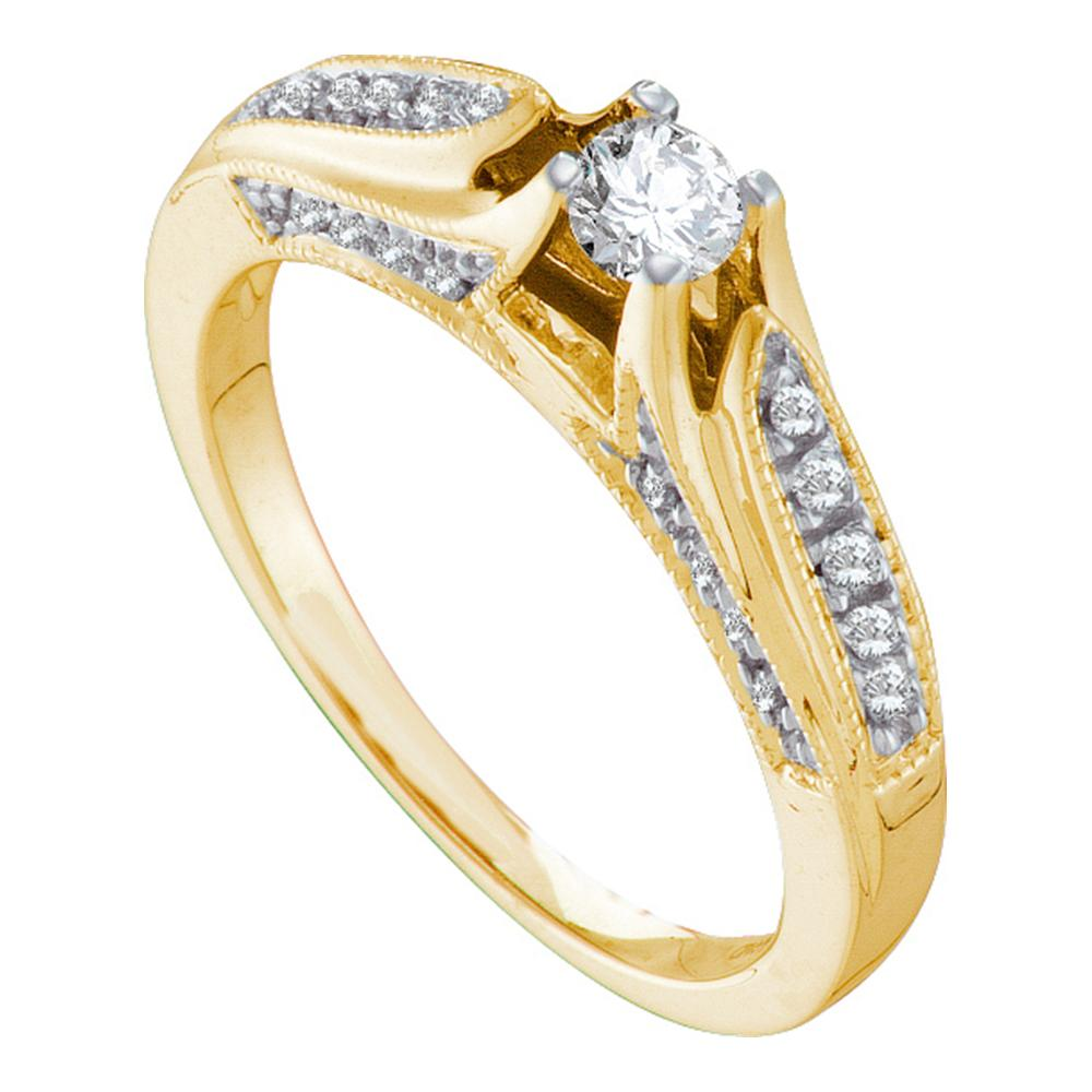14kt Yellow Gold Womens Round Diamond Solitaire Bridal Wedding Engagement Ring 1/3 Cttw