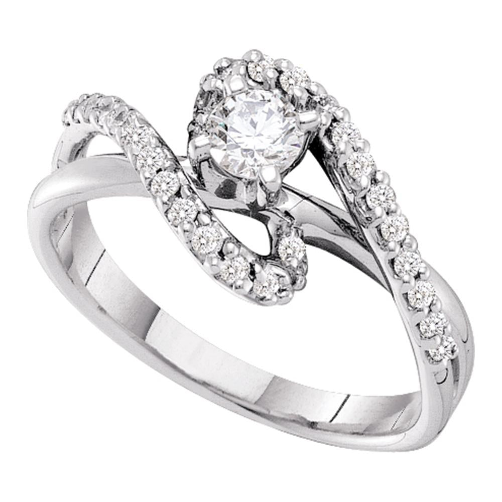 14kt White Gold Womens Round Diamond Solitaire Swirl Bridal Wedding Engagement Ring 1/2 Cttw