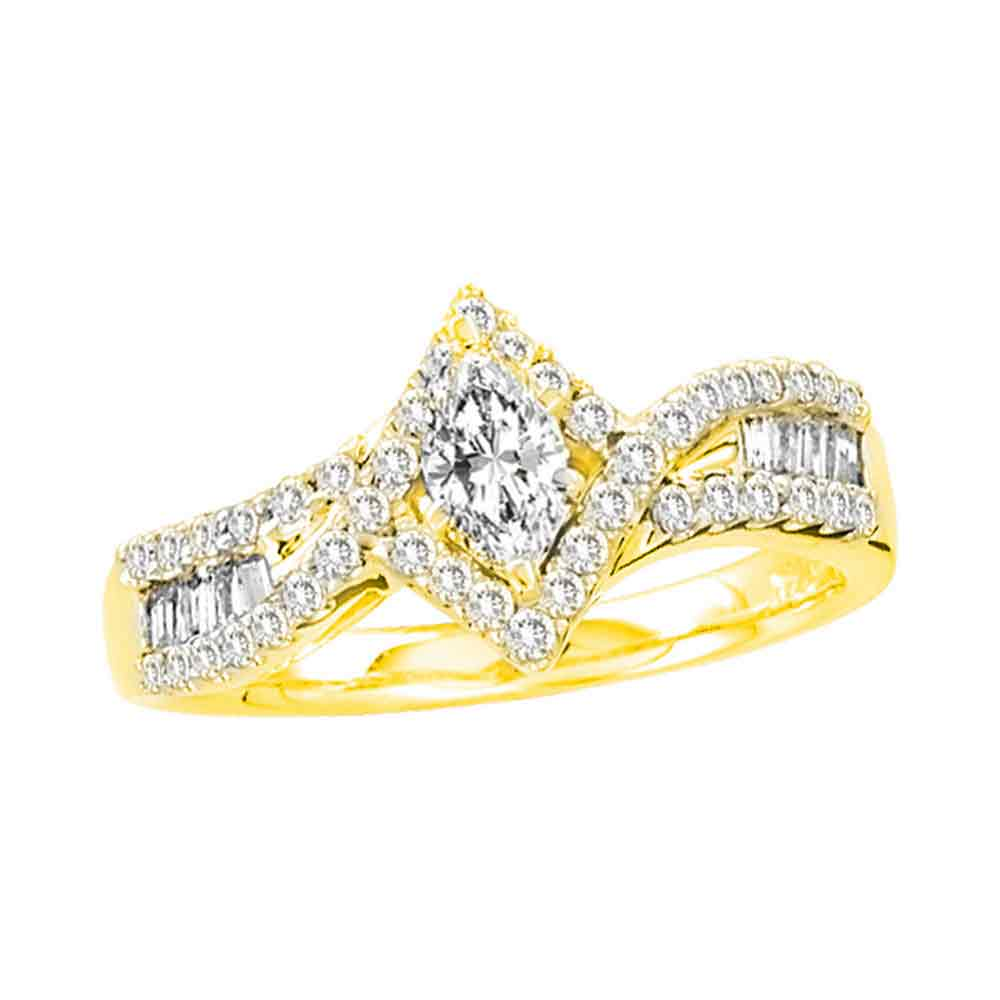 14kt Yellow Gold Womens Marquise Diamond Solitaire Bridal Wedding Engagement Ring 3/4 Cttw
