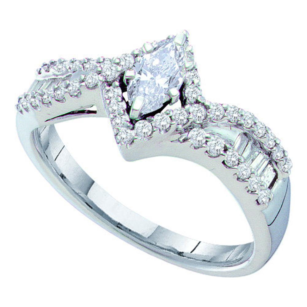 14kt White Gold Womens Marquise Diamond Solitaire Bridal Wedding Engagement Ring 3/4 Cttw
