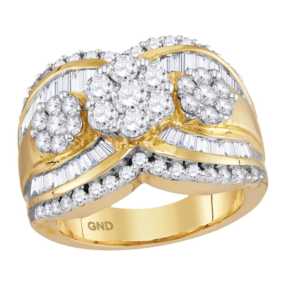 14kt Yellow Gold Womens Round Diamond Triple Flower Cluster Bridal Wedding Engagement Ring 2.00 Cttw