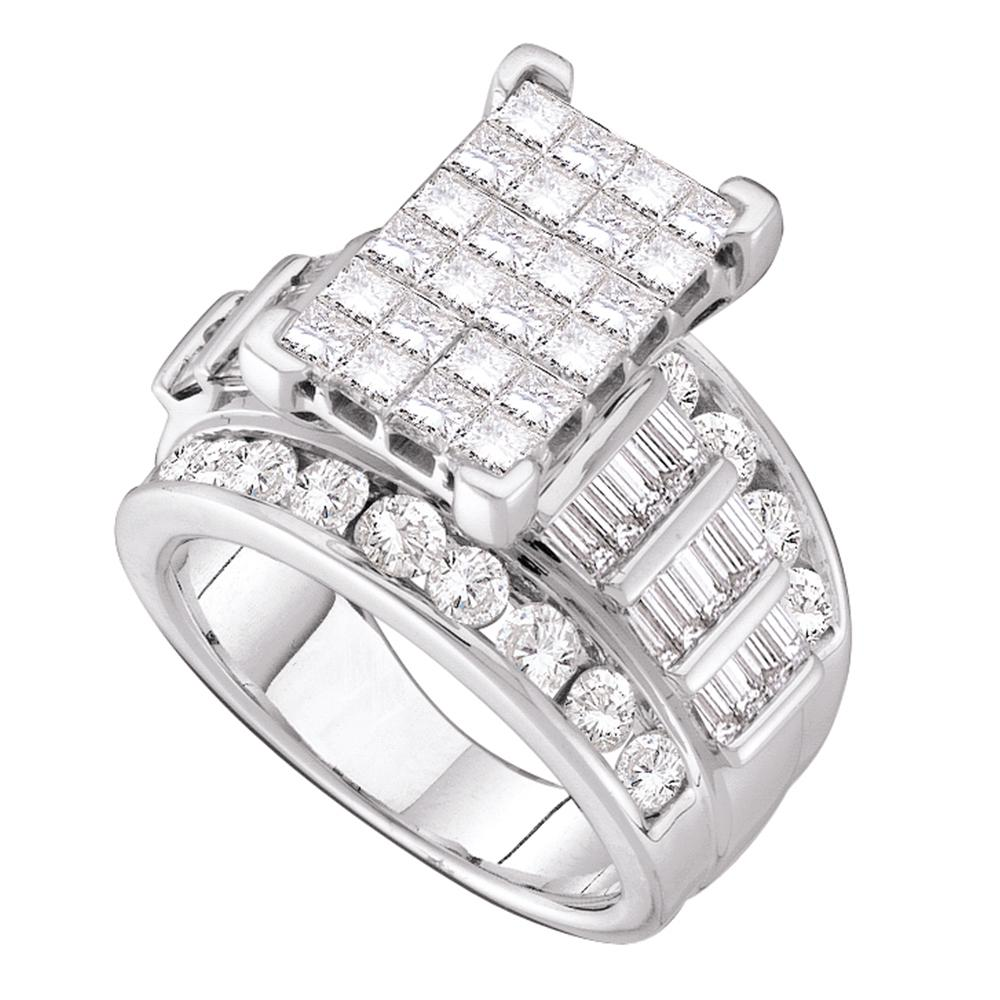 14kt White Gold Womens Princess Diamond Cindys Dream Cluster Bridal Wedding Engagement Ring 4.00 Cttw