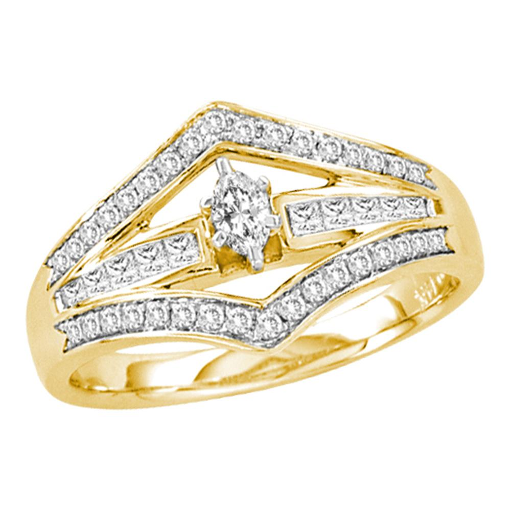 14kt Yellow Gold Womens Marquise Diamond Marquise Bridal Wedding Engagement Ring 1/2 Cttw